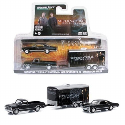 1967 CHEVROLET IMPALA SPORT SEDAN - 1968 CHEVROLET C-10 -ENCLOSED CAR HAULER  1/64